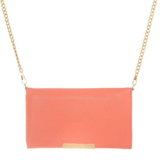Katie Coral Faux Leather Clutch With Gold Chain Strap