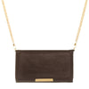 Katie Dark Brown Faux Leather Clutch With Gold Chain Strap