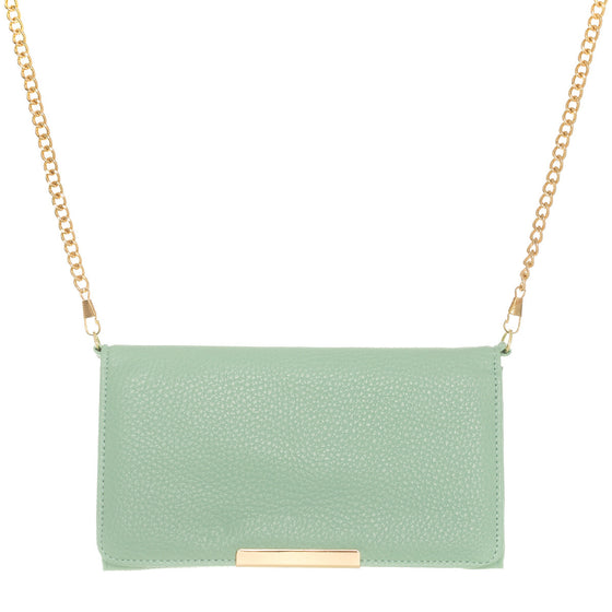 Katie Mint Faux Leather Clutch With Gold Chain Strap