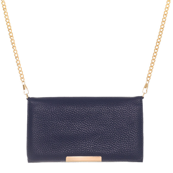 Katie Navy Faux Leather Clutch With Gold Chain Strap