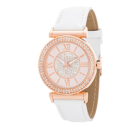 Emma Crystal White And Rose Gold Watch With Leather Strap