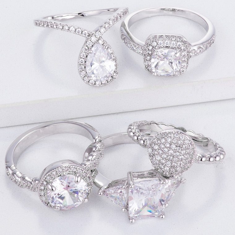 Clear Crystal Engagement Rings