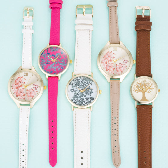 Leather Floral Watches
