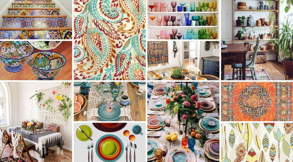 Design Inspiration: Bright Boho Turquoise, Red & Tangerine Dining Room