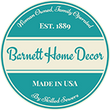 barnett home decor logo - woman owned family operated - made in usa by skilled sewers