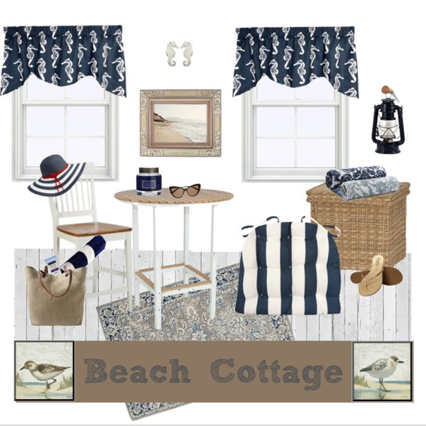 Beach Cottage Ft. Coastal Cabana Stripe in Navy