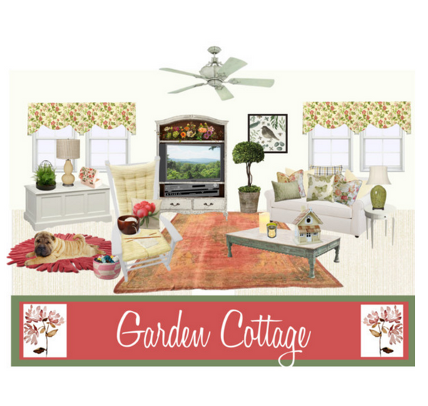 Garden Cottage Decor Ft. Brisbane Cream Rocking Chair Cushions & Farrell Rose Valances