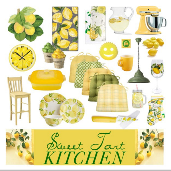 Sweet Tart Kitchen Decor Ft. a Mix of our Yellow & Green Chair Pads!