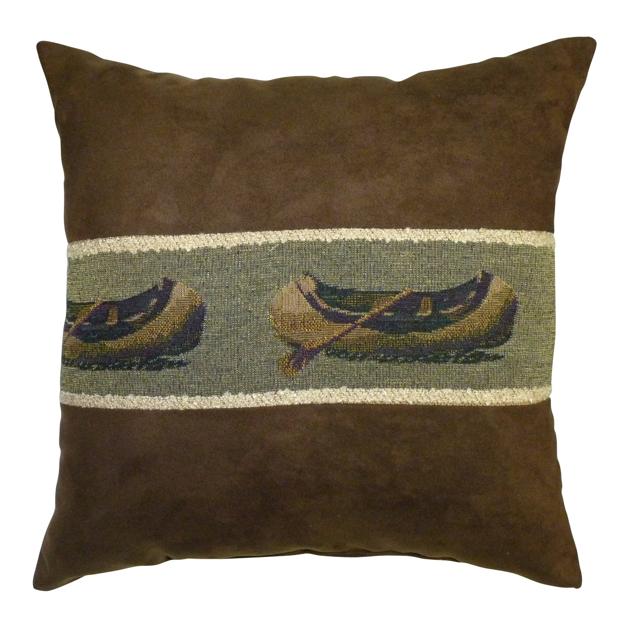 Canoe Microsuede Brown Throw Pillow | Barnett Home Decor