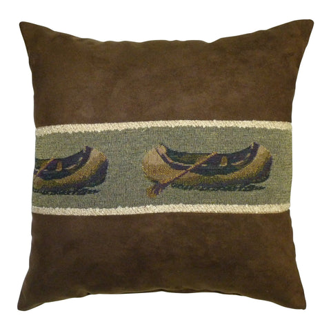 "Canoe Toss Pillow - 14"" - Rustic Lodge Decor"