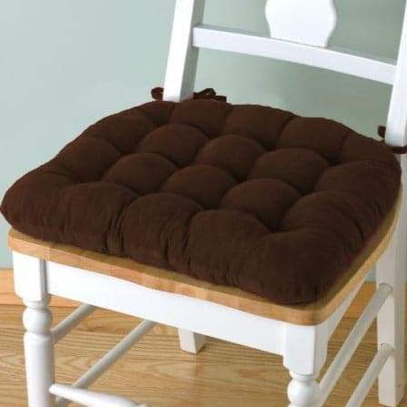 Corduroy Pinwale Brown Dining Chair Pad - Latex Foam Fill - Reversible