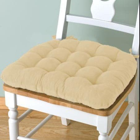 Corduroy Pinwale Beige Dining Chair Pad - Latex Foam Fill - Reversible - VCS