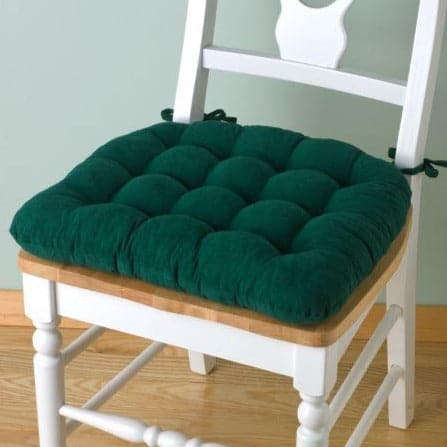 Corduroy Pinwale Hunter Green Dining Chair Pad - Latex Foam Fill - Reversible