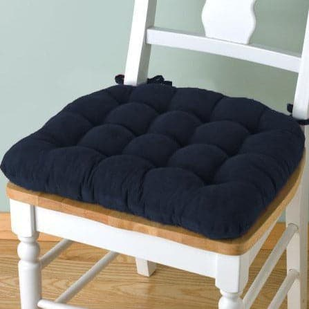 Corduroy Pinwale Navy Blue Dining Chair Pad - Latex Foam Fill - Reversible