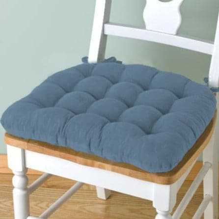 Corduroy Pinwale Slate Blue Dining Chair Pad - Latex Foam Fill - Reversible
