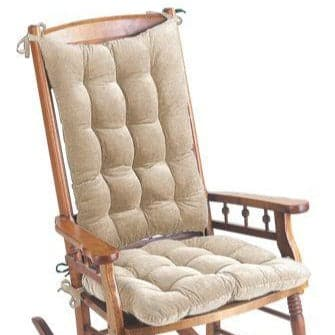 Corduroy Pinwale Beige Rocking Chair Cushions  - Machine Washable