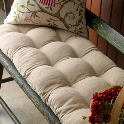 Pinwale Corduroy Beige Bench Cushion - Latex Foam Fill - Reversible