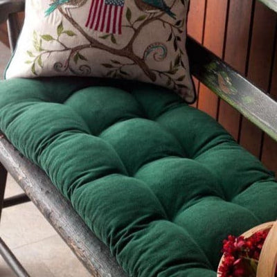 Pinwale Corduroy Hunter Green Bench Cushion - Latex Foam Fill - Reversible