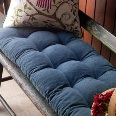 Pinwale Corduroy Slate Blue Bench Cushion - Latex Foam Fill - Reversible