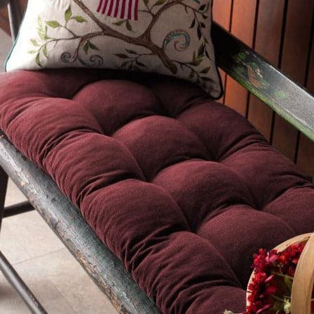 Pinwale Corduroy Burgundy Bench Cushion Latex Foam Fill Reversible