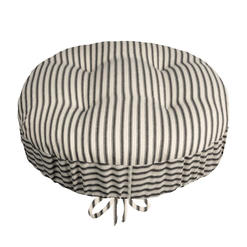 Ticking Stripe Black Bar Stool Cover with Adjustable Drawstring Yoke - Latex Foam Fill Cushion
