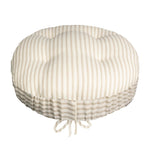 Ticking Stripe Natural Bar Stool Cover with Adjustable Drawstring Yoke