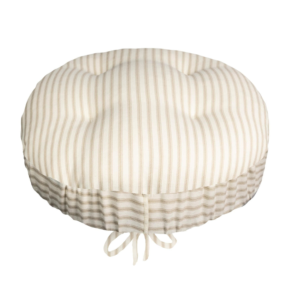 Ticking Stripe Natural Bar Stool Cover with Adjustable Drawstring Yoke - Latex Foam Fill Cushion