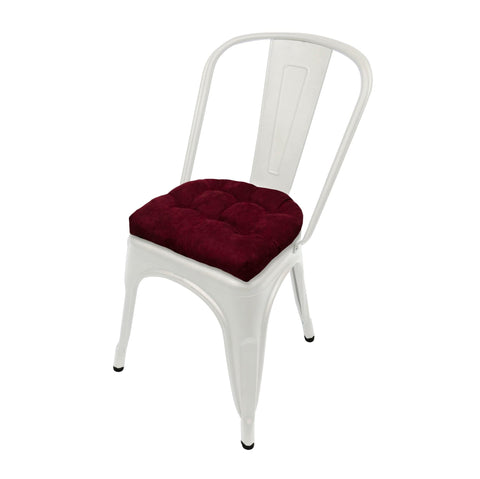 Micro-Suede Claret Red Industrial Chair Cushion - Latex Foam Fill, Reversible