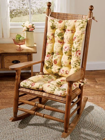 Bethany Yellow Floral Rocking Chair Cushions  - Machine Washable
