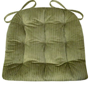 Corduroy (Wide Wale) Olive Green Dining Chair Pad  - Latex Foam Fill - Reversible