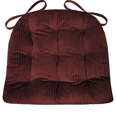 Corduroy (Wide Wale) Claret Red Dining Chair Pad - Latex Foam Fill - Reversible