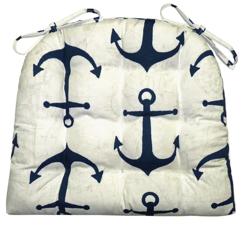 Anchors Navy Blue and White Dining Chair Pad Beach Coastal Nautical Blue Home Decor