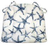 Sea Shore Starfish Indoor/Outdoor Navy Blue Dining Chair Cushions - Barnett Home Decor - Navy Blue & White