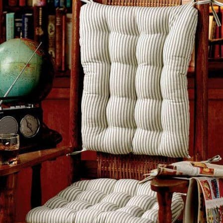 Berlin Blue Ticking Stripe Rocking Chair Cushions  - Machine Washable