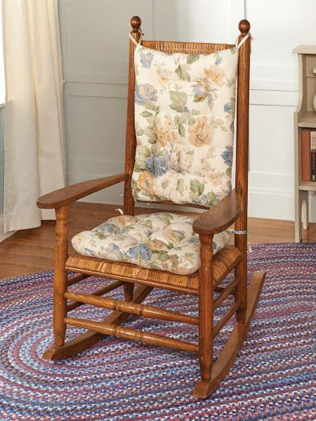 Chablis Blue Floral Rocking Chair Cushions   Latex Foam Fill, Reversible   Shabby  Chic