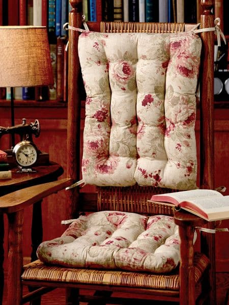 Chablis Rose Rocking Chair Cushions   Latex Foam Fill, Reversible   Shabby  Chic