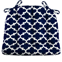 Fulton Ogee Navy Blue Dining Chair Pads - Indigo - Dark Blue - Ink Blue - Midnight - Barnett Home Décor -