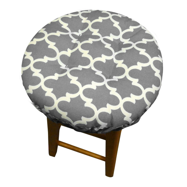 Fulton Ogee Grey Bar Stool Cover with Cushion - Indoor / Outdoor