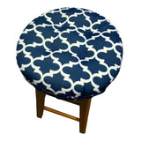 Fulton Ogee Navy Blue Bar Stool Cover with Cushion - Indoor / Outdoor