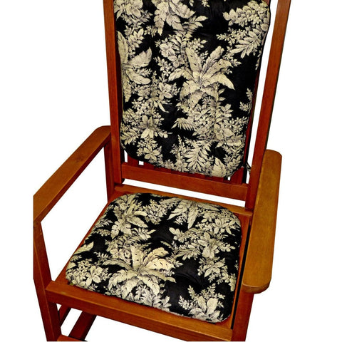 Bellingrath Black Rocking Chair Cushions - Latex Foam Fill - Made in USA