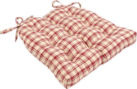 Montgomery Plaid Red Dining Chair Pads - Latex Foam Fill, Reversible
