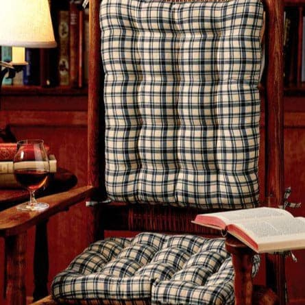 Montgomery Plaid Blue Rocking Chair Cushions - Latex Foam Fill, Reversible