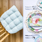 Tibet Aqua Dining Chair Cushion | Barnett Home Decor | Aqua & White