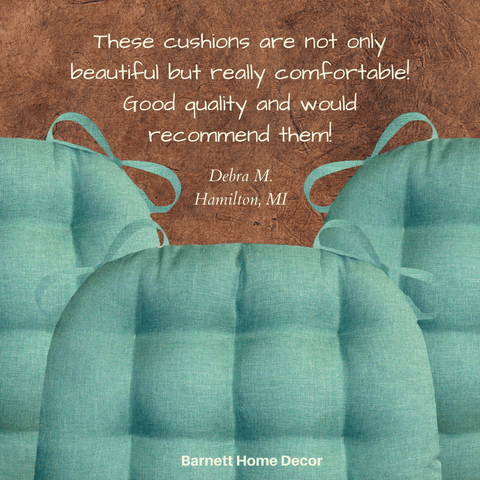 Hayden Turquoise Dining Chair Cushion Customer Testimonial