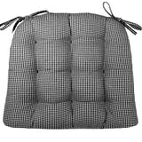 Madrid Black Gingham Dining Chair Cushions - Barnett Home Decor - Black & White