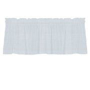 Madrid Lake Blue Gingham Cafe Valances - Straight Tailored Window Treatments