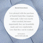 Madrid Dark Blue Gingham Dining Chair Pads Customer Testimonial