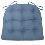 Cotton Duck Bluebell Solid Color Dining Chair Pads  - Latex Foam Fill - Reversible