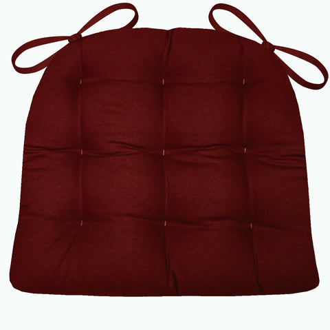 Cotton Duck Wine Red Solid Color Dining Chair Pads  - Latex Foam Fill - Reversible