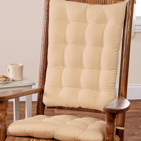Cotton Duck Tan Rocking Chair Cushions - Latex Foam Fill - Reversible